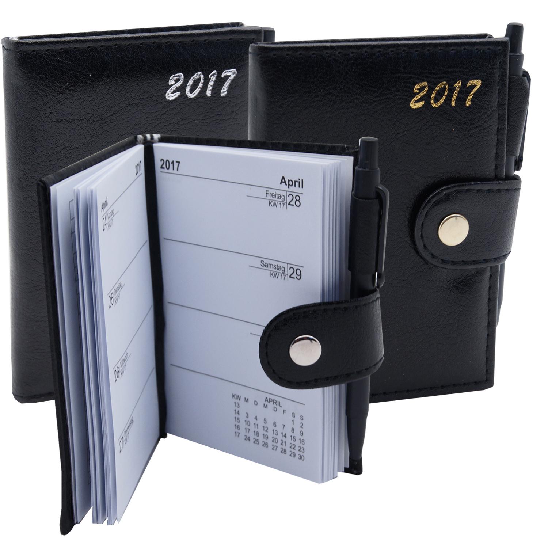 2017 taschenkalender mit stift leder optik terminplaner. Black Bedroom Furniture Sets. Home Design Ideas